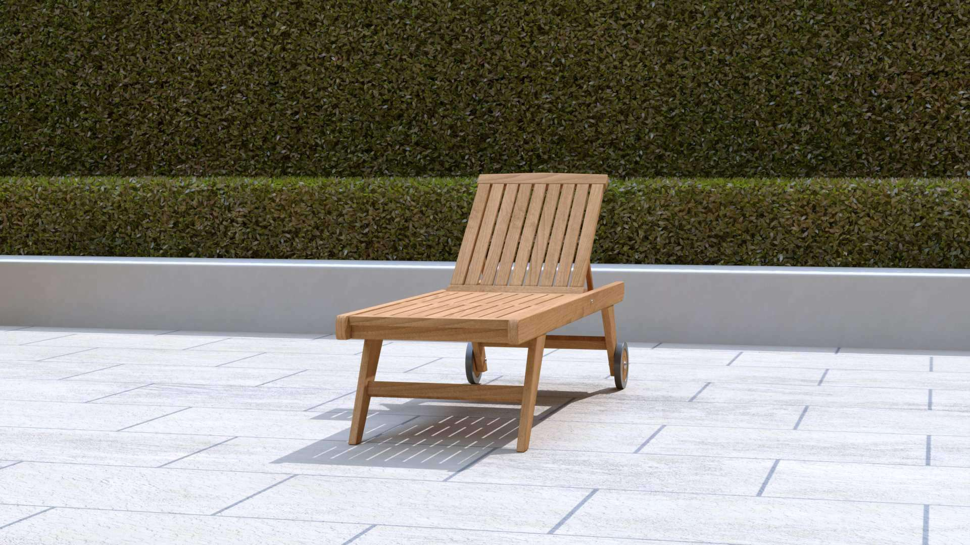 Teak Sun Lounger High Level with Wheels (Blue Cushion)  - Chic Teak® | Luxury Teak Furniture