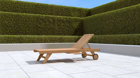 Teak Sun Lounger With Wheels