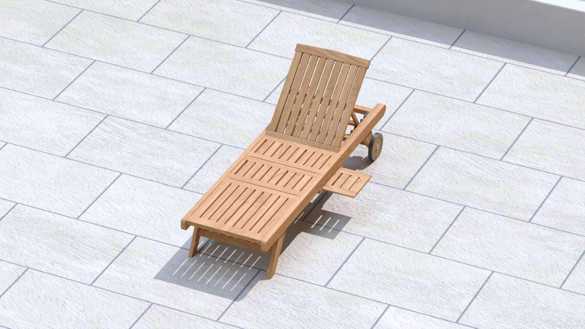 Teak Sun Lounger With Wheels (Graphite Cushion)  - Chic Teak® | Luxury Teak Furniture