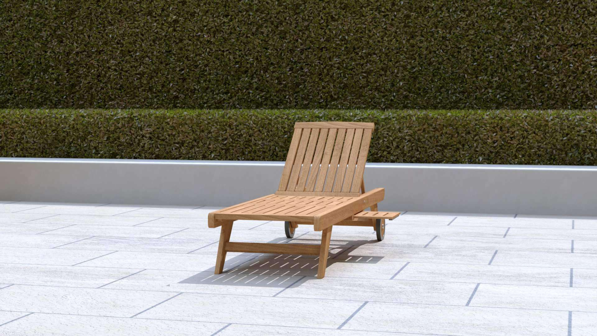 Teak Sun Lounger With Wheels (Blue Cushion)  - Chic Teak® | Luxury Teak Furniture