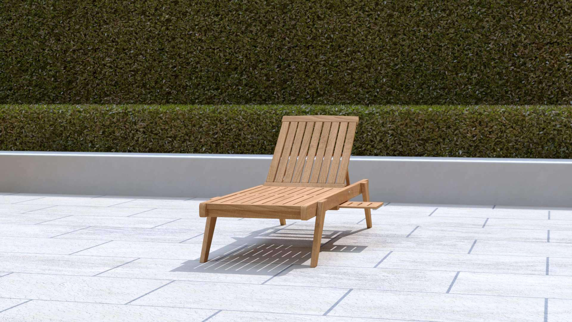 Teak Sun Lounger Stackable (Blue Cushion)  - Chic Teak® | Luxury Teak Furniture