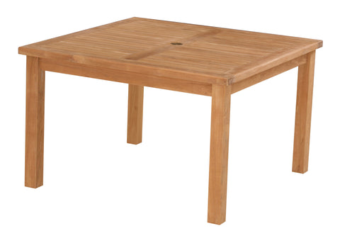 SALE - Square Garden Teak Table 120cm with parasol hole - NEW