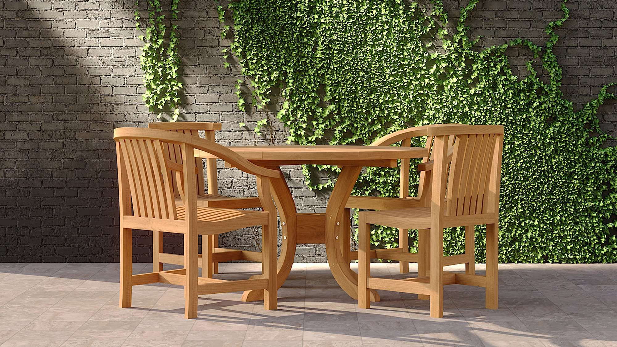 Garden Pedestal Teak Table & 4 Winchester Chairs  - Chic Teak® | Luxury Teak Furniture