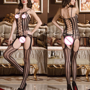 Lady Black Sexy Lingerie Fishnet Sex Toys Body Stocking Nightwear Babydoll Dress