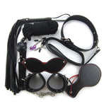8pcs Kit Bondage Rope Set Collar Whip Hand Cuffs Ankle Cuff Eye Mask Black Fetish Restraints SM Sex Toys