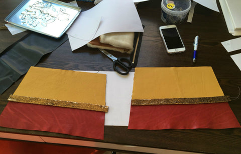 Handbag sides cut and ready to sew