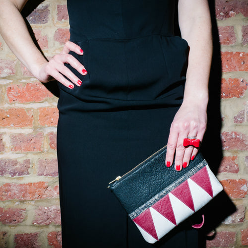 Red Triangles Purse