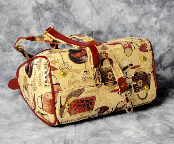 Belgian Tapestry Handbag with Leather Accents - Fashion Accessories Motif