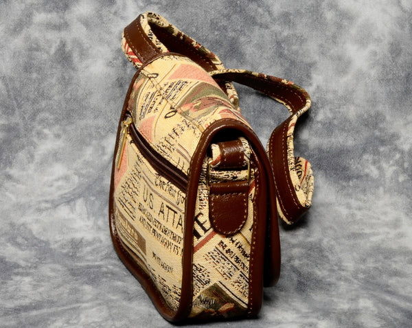 Belgian Tapestry Crossbody Bag with Genuine Leather Accents - Journalism Motif
