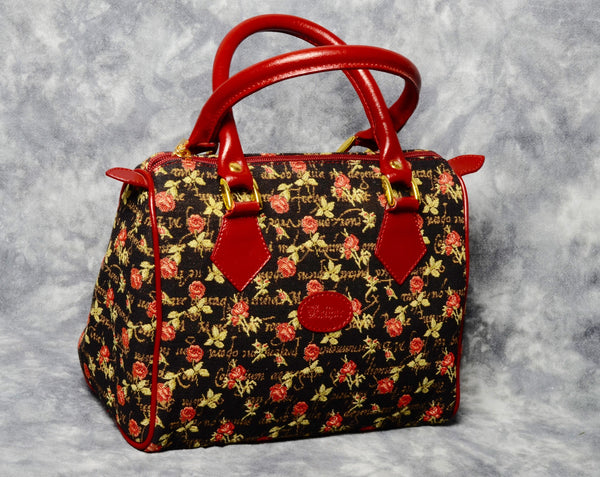 Belgian Jacquard Woven Tapestry Handbag with Genuine Leather Accents - Roses