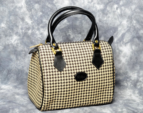 Belgian Tapestry Handbag with Genuine Leather Accents - Houndstooth Pattern