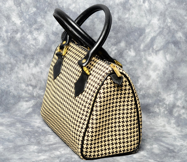 Belgian Jacquard Woven Tapestry Handbag with Genuine Leather Accents