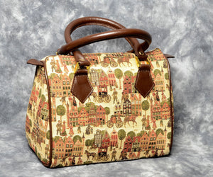 Belgian Tapestry Handbag with Genuine Leather Accents - European Market Motif