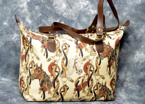 Belgian Jacquard Woven Tapestry City Bag with Leather Accents and Straps