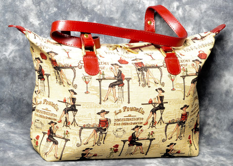 Belgian Tapestry City Bag with Genuine Leather Accents and Leather Straps