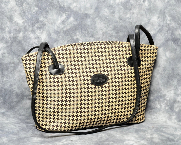 Belgian Tapestry Shoulder Bag with Leather Accents - Houndstooth Pattern