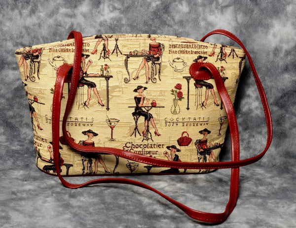 Belgian Tapestry Shoulder Bag with Leather Accents - Parisian Ladies Motif
