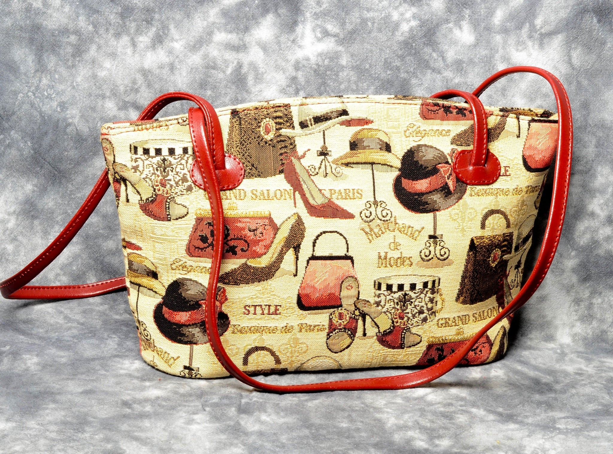 Belgian Tapestry Shoulder Bag with Leather Accents - Fashion Accessories Motif