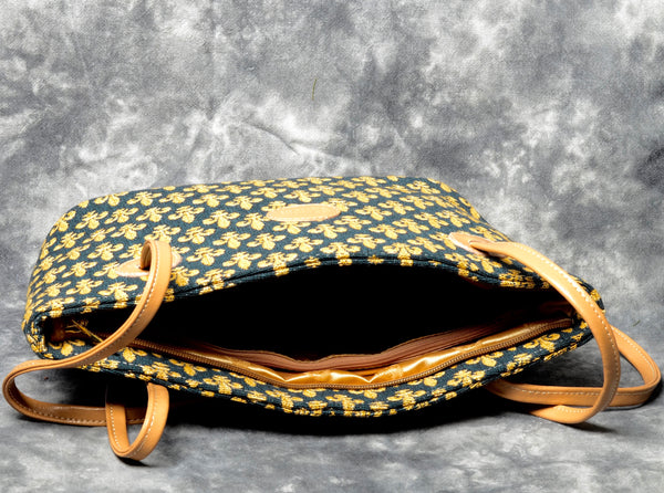 Belgian Jacquard Woven Tapestry Shoulder Bag with Genuine Leather Accents and Leather Strap