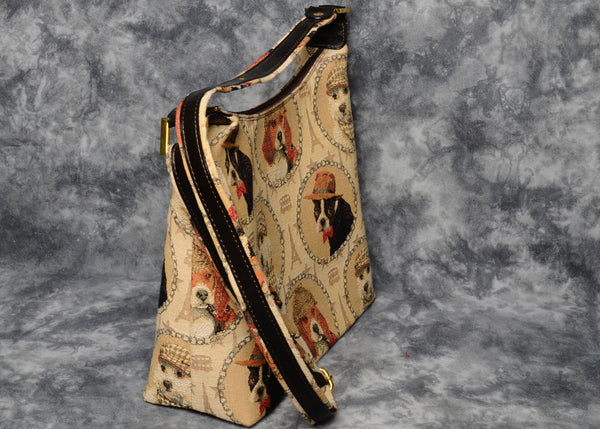 Belgian Tapestry Crossbody/Shoulder Bag with Genuine Leather Accents - City Dogs