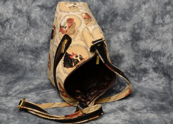 Belgian Jacquard Woven Tapestry Crossbody/Shoulder Bag with Genuine Leather Accents and Matching Strap