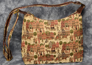 Belgian Tapestry Crossbody Bag with Leather Accents - European Market Motif
