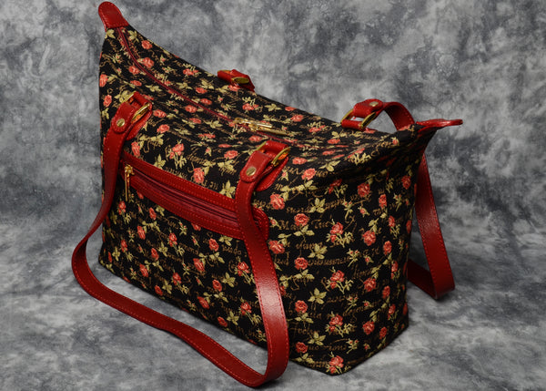Belgian Jacquard Woven Tapestry City Bag with Genuine Leather Accents and Leather Straps
