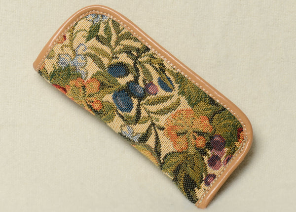 Belgian Tapestry Eyeglass Case with Leather Accents in Floral/Plums Motif