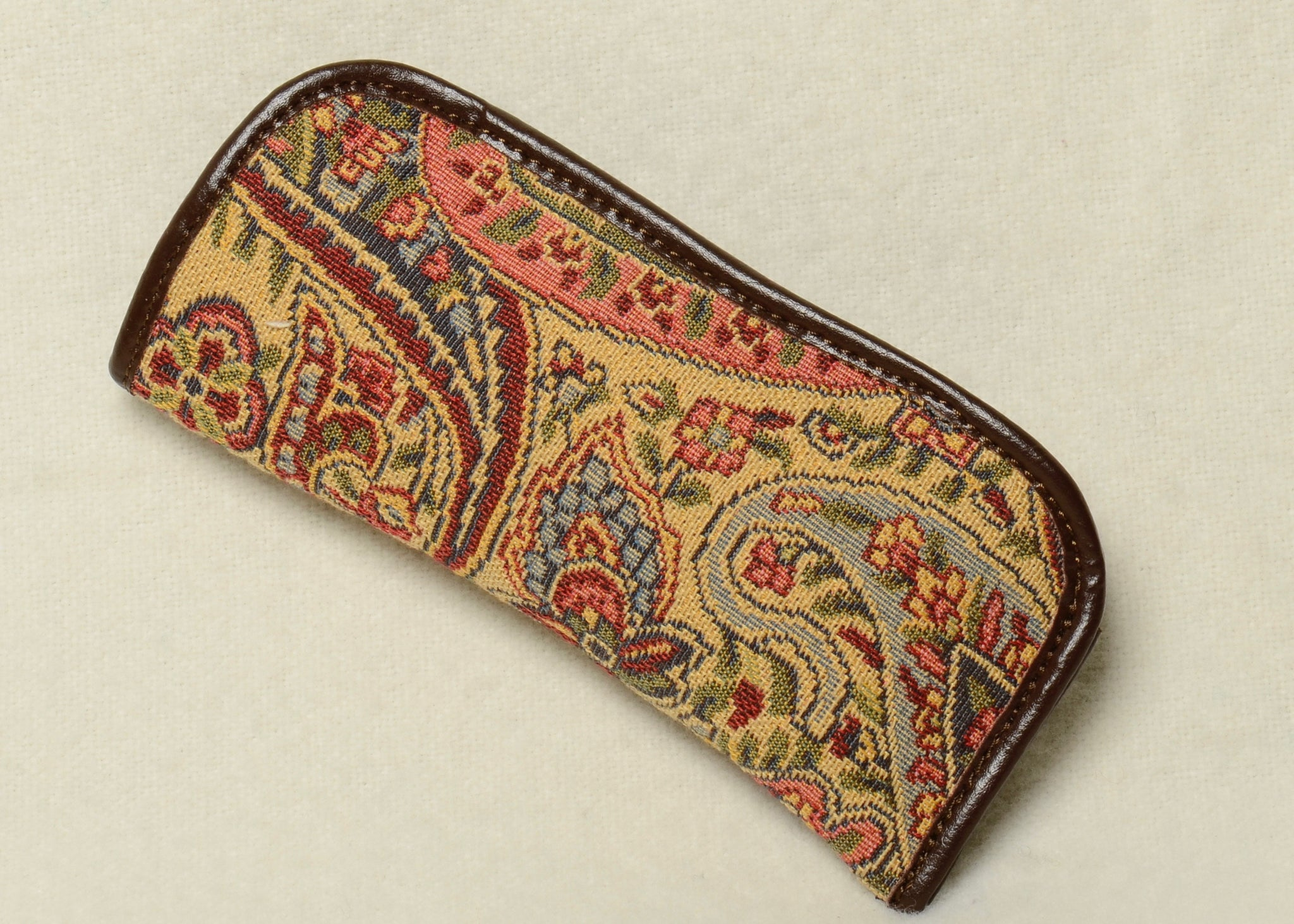 Belgian Tapestry Eyeglass Case with Leather Accents in Paisley Pattern
