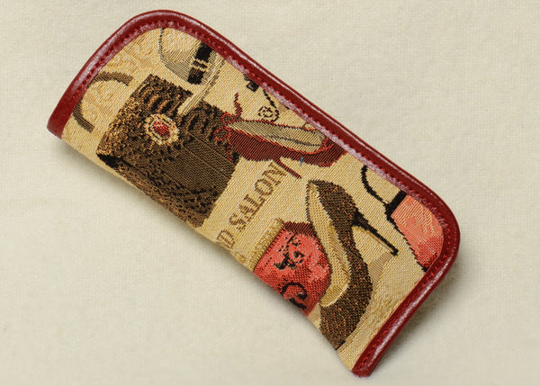 Belgian Jacquard Woven Tapestry Eyeglass Case with Genuine Leather Accents and Soft Satin Lining in Fashion Accessories Motif
