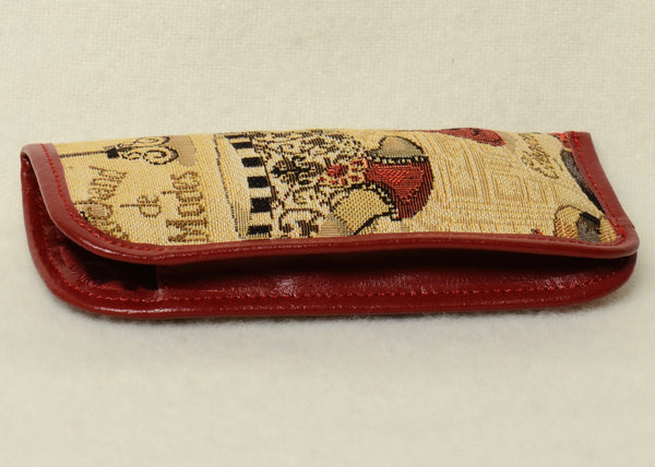 Belgian Tapestry Eyeglass Case with Leather Accents in Fashion Accessories Motif