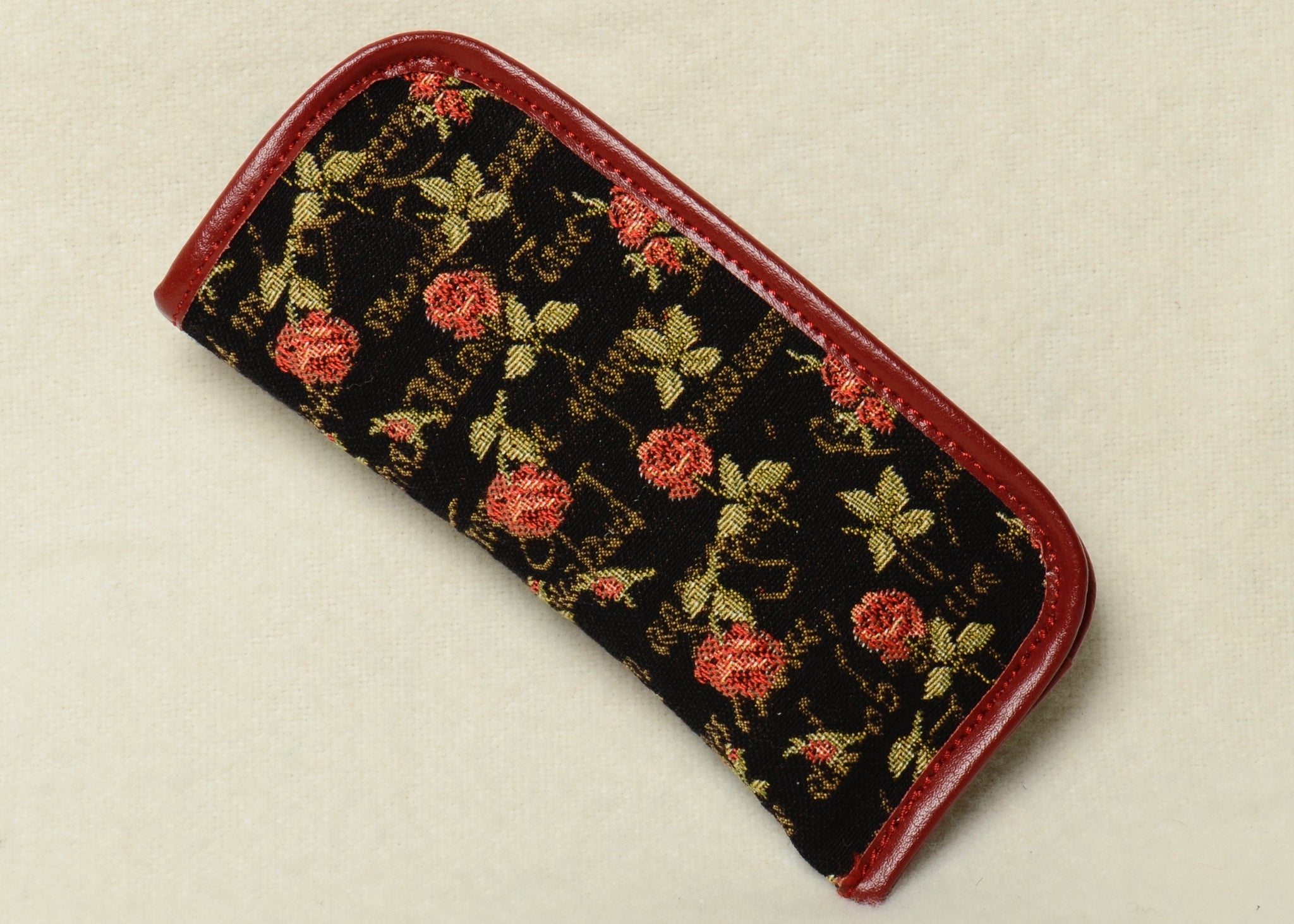 Belgian Tapestry Eyeglass Case with Genuine Leather Accents in Roses Motif