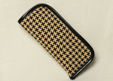 Tapestry Eyeglass Case with Genuine Leather Accents in Houndstooth Pattern