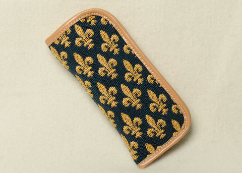 Belgian Tapestry Eyeglass Case with Leather Accents in Fleur de Lys Motif