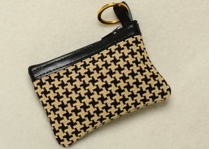 Belgian Houndstooth Tapestry Change Purse with Leather Accents and Keyring