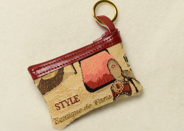 Belgian Tapestry Fashion Accessories Change Purse with Genuine Leather Accents and Keyring