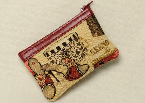 Belgian Jacquard Woven Tapestry Change Purse with Genuine Leather Accents in a Timeless Fashion Accessories Motif
