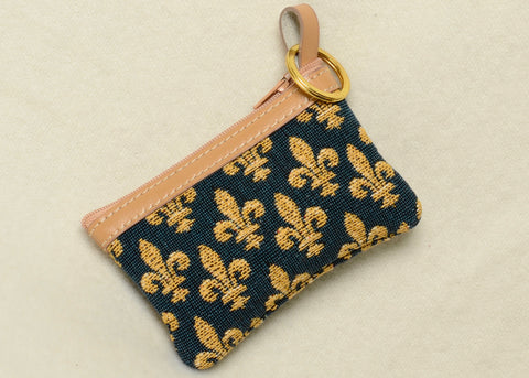 Belgian Fleur de Lys Tapestry Change Purse with Leather Accents and Keyring
