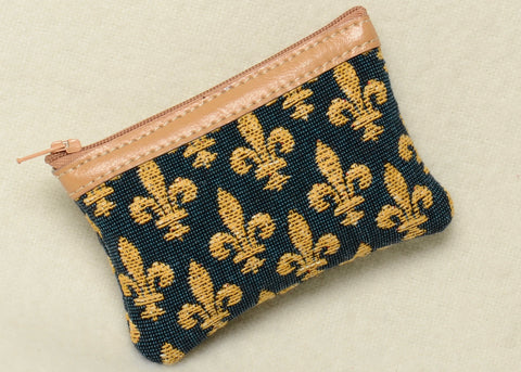 Belgian Jacquard Woven Tapestry Change Purse with Genuine Leather Accents and Soft Satin Lining in a Timeless Fleur de Lys Motif