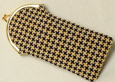 Belgian Tapestry Eyeglass Case with Metal Clip in a Houndstooth Motif