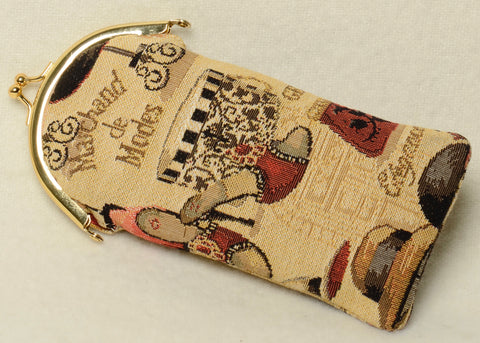 Belgian Tapestry Eyeglass Case with Metal Clip in Fashion Accessories Motif