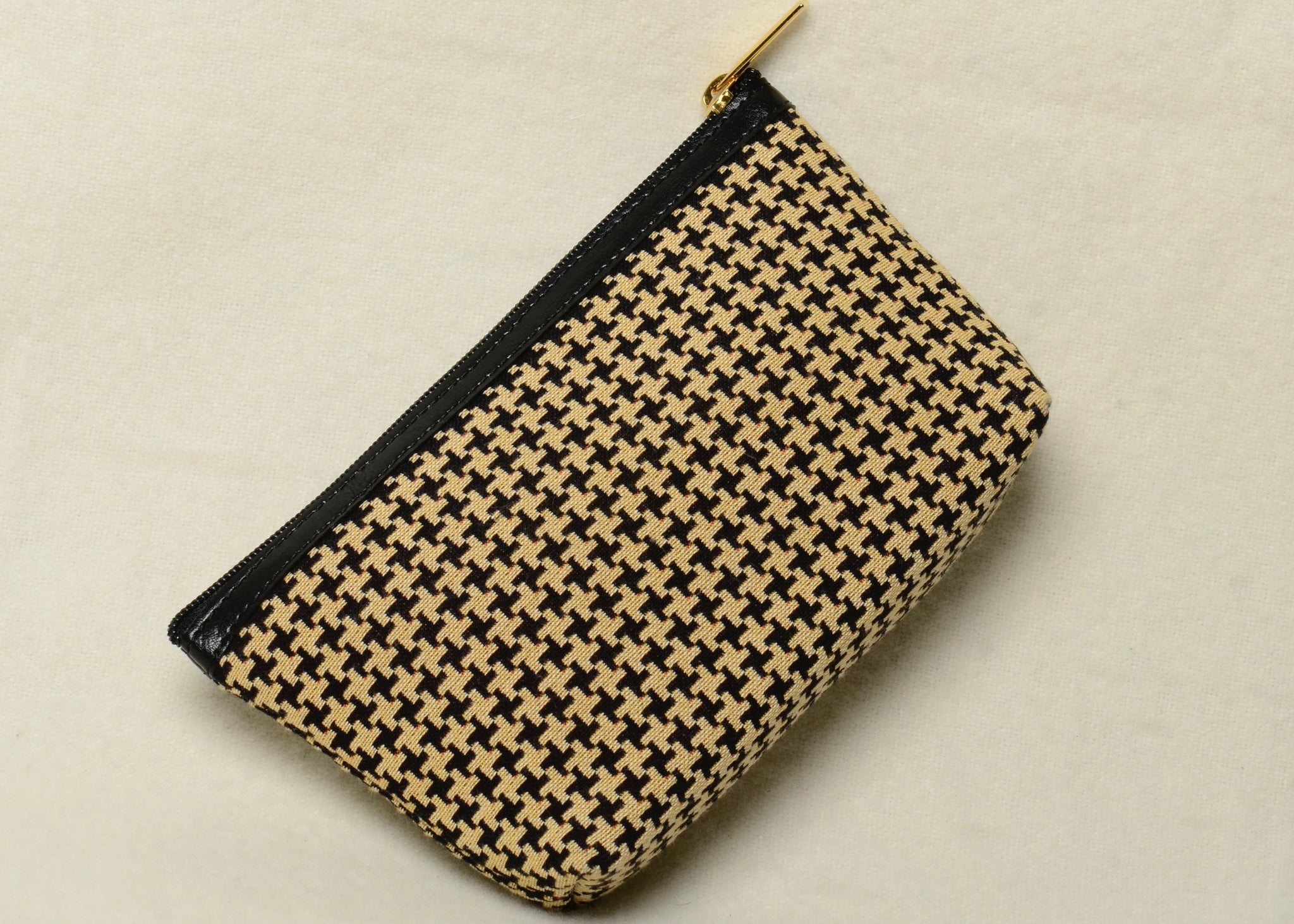 Belgian Tapestry Cosmetic Purse with Leather Accents in Houndstooth Motif