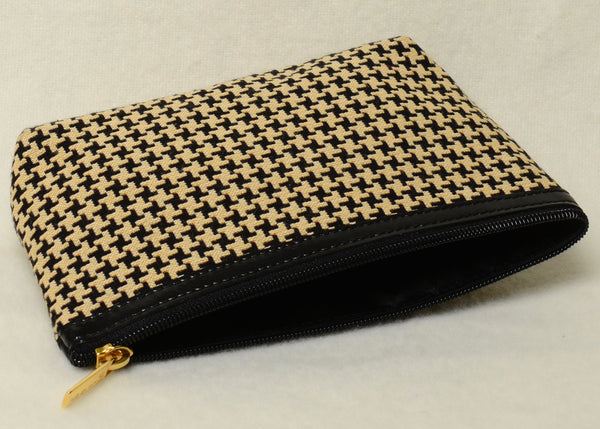 Belgian Jacquard Woven Tapestry Cosmetic Purse with Genuine Leather Accents and Soft Satin Lining in Timeless Houndstooth Motif