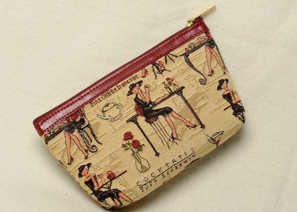 Tapestry Cosmetic Purse with Genuine Leather Accents in Parisian Ladies Motif