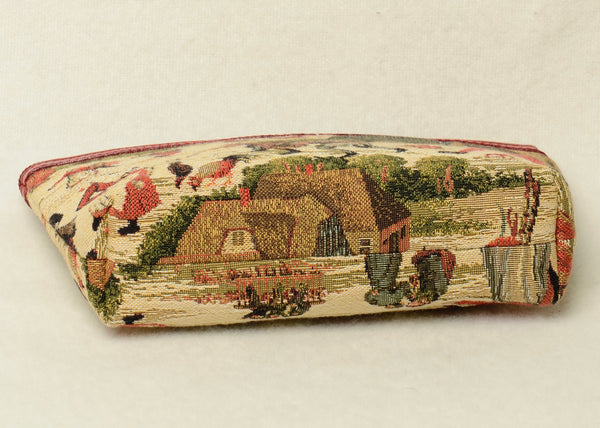 Belgian Tapestry Cosmetic Purse with Genuine Leather in a Pieter Bruegel Motif