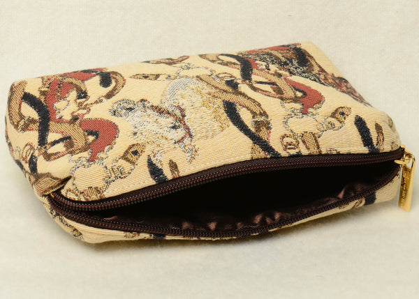Belgian Tapestry Cosmetic Purse with Soft Satin Lining in Equestrian Motif