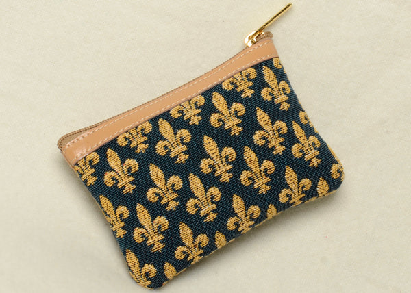 Small Belgian Jacquard Woven Tapestry Purse with Genuine Leather Accents and Soft Satin Lining in a Timeless Fleur de Lys Motif