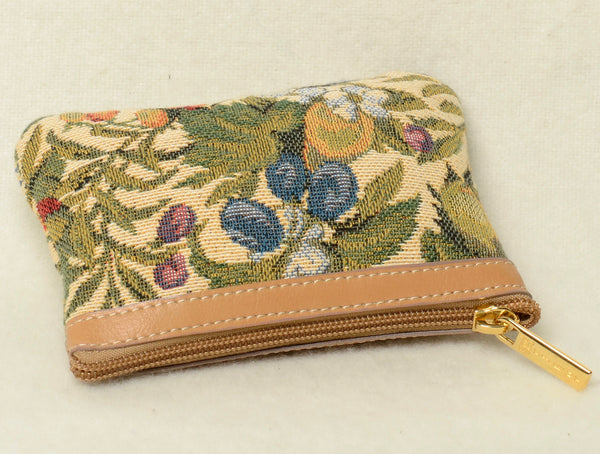 Small Belgian Jacquard Woven Tapestry Purse with Genuine Leather Accents and Soft Satin Lining in a Floral/Plums Motif