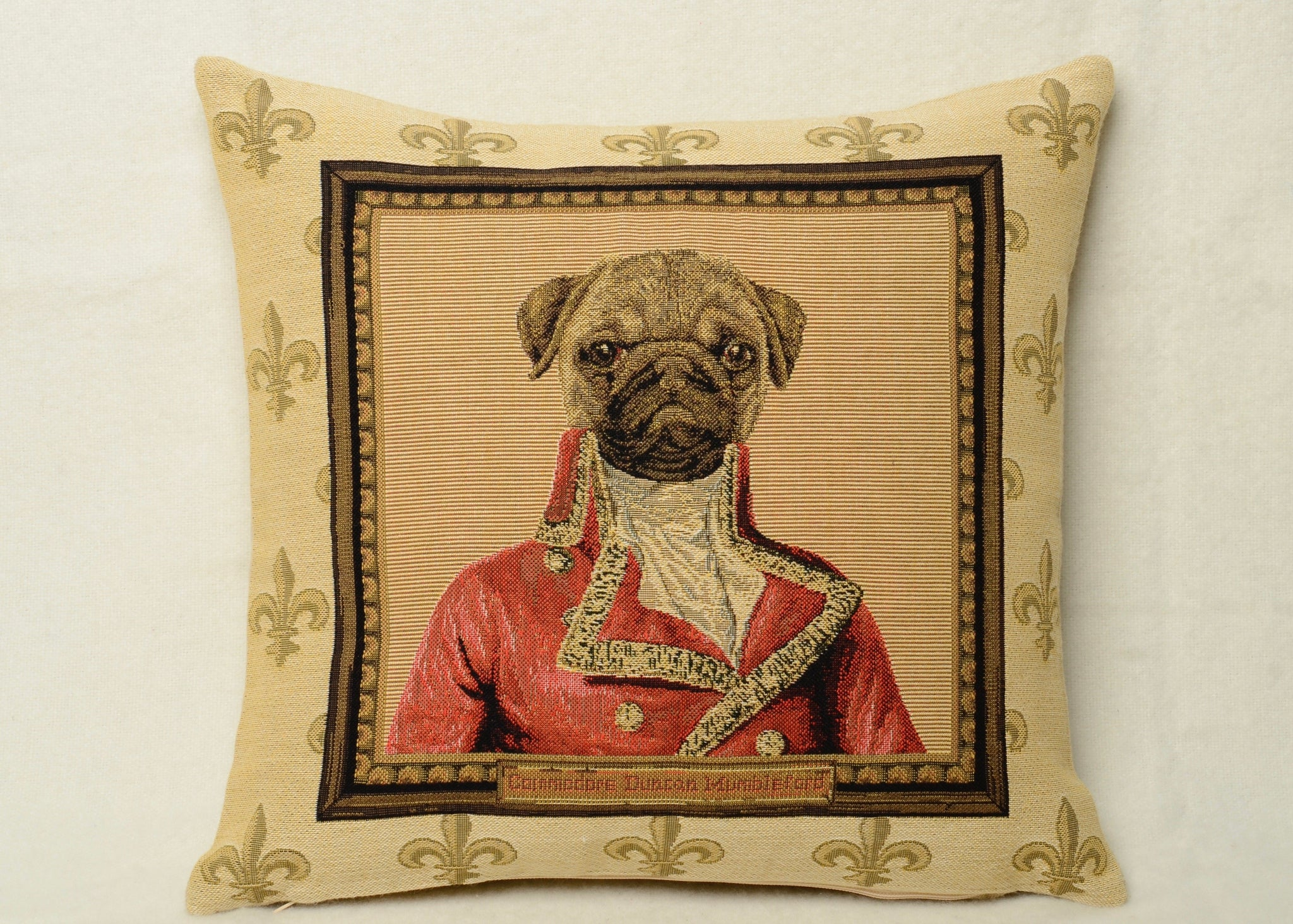 Framed Pug Cushion Cover with Fleur de Lys Background- 13x12""