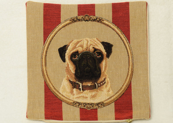 "Mini Tapestry Pillow Portraying a Pug on Wallpaper Background - 10""x10"""